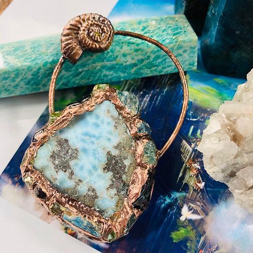 Larimar Encrusted w/Blue Apatite, Garnet & Peridot Talisman