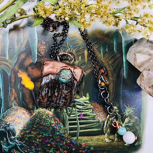 "Petrified Wood & Turquoise 24"" Gunmetal Silver Chain"
