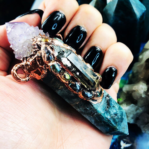 Gates Eye~ Blue Apatite, Dbl. Terminated Smoky & Amethyst Spirit Quartz