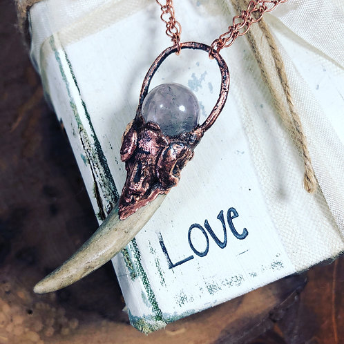 """Amethyst & Natural Shed Deer Antler 18"""" Copper Double Chain"""