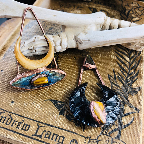 Labradorite Eye  & Black Obsidian Moon Magick Pendants