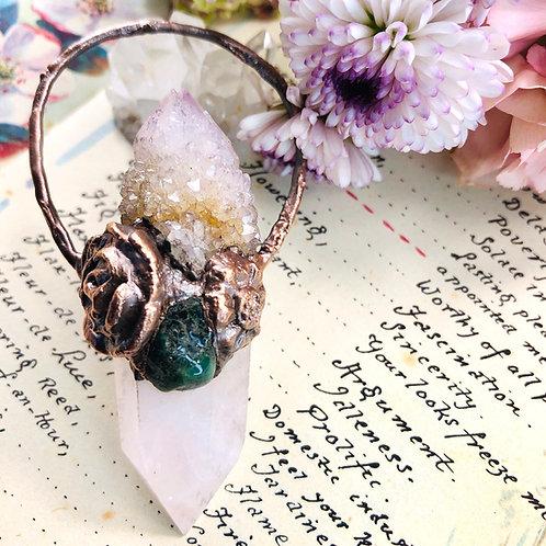 Maliya~ Rose Quartz/Amethyst Spirit Quartz Twin & Emerald Talisman