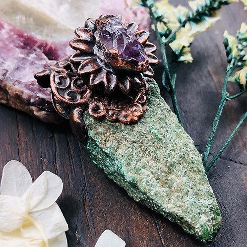 Dreamer~ Fuchsite & Amethyst Pendant