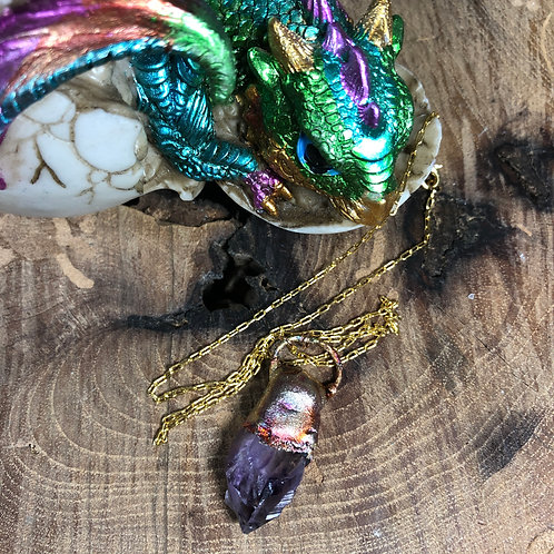 "Amethyst Flame Painted 18"" Gold Fil Chain"