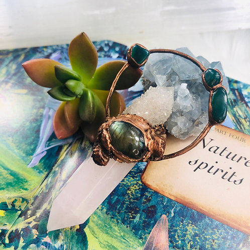 Devana~ Rose Quartz/Smoky Spirit Quartz/Labradorite & Green Agate Talisman