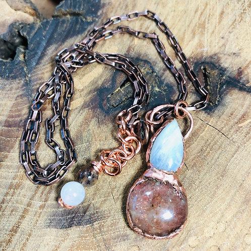 """Sun/Moon Stone Pendant w/18"""" Copper Chain"""