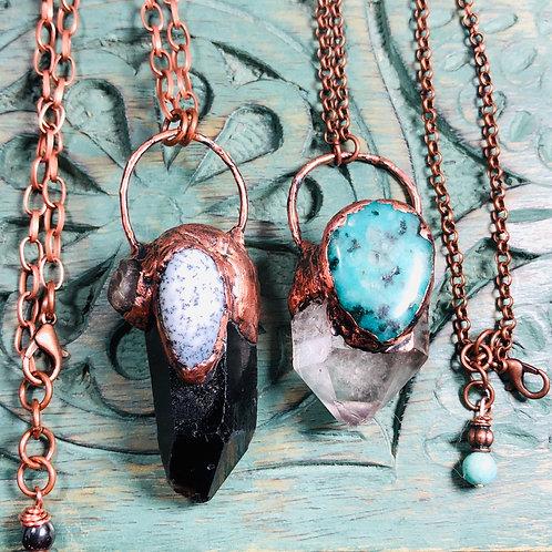 "Smoky Quartz & Dendritic Opal .&. Amazonite & Smoky Quartz on 20"" Copper Chain"