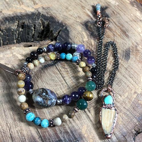 Petrified Wood/Turquoise Necklace & 2 Custom Chakra Balancing Bracelets
