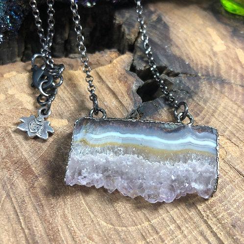 "Amethyst Geode Slice 18"" Necklace on Gunmetal Chain"