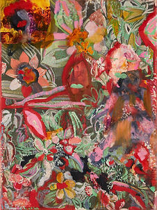 Thought Flowers, oil, collage, acrylic a