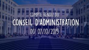 Conseil d'Administration du 07/10/2019