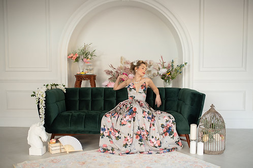 Rococo Floral and Crystal Gown