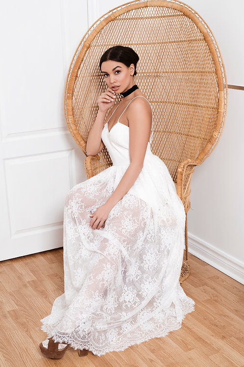 Della Rose Eyelash Lace Gown