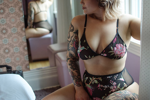 Birds of Paradise Embroidered Lingerie Set, High rise brazilian