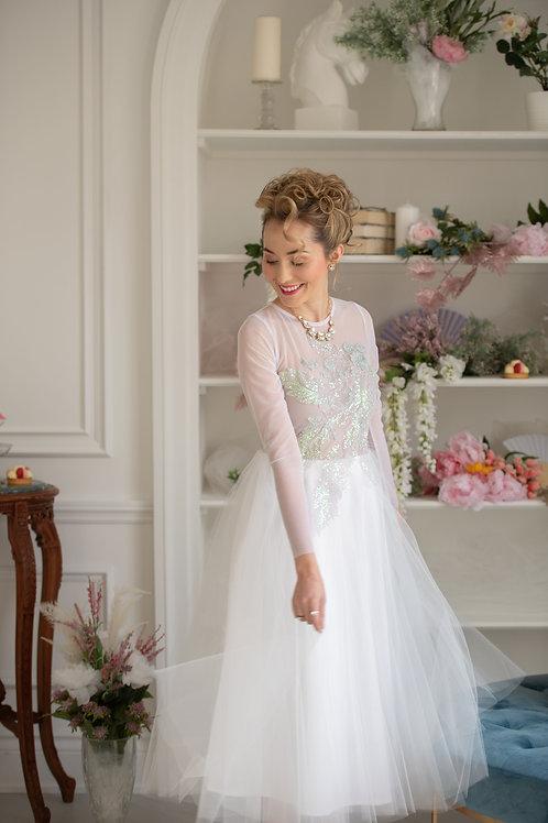 Iridescent beaded tea length tulle dress