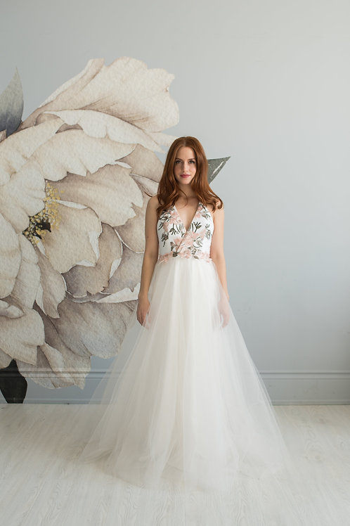 Rose embroidered lace & tulle gown