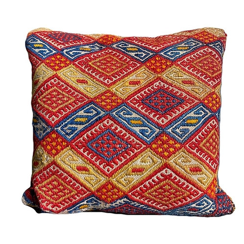 Red Blue + Yellow Kilim Pillow 16x16