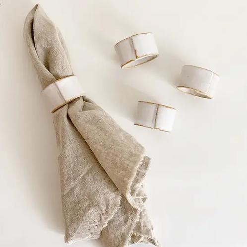 Stoneware Napkin Rings in White