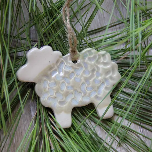 Stoneware Sheep Ornament