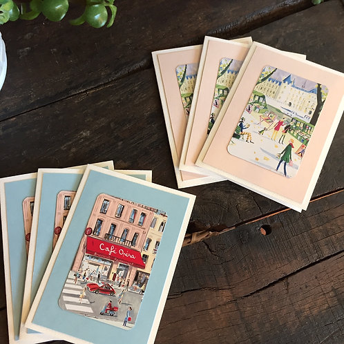 Parisian Street Scenes Note Cards Set/6