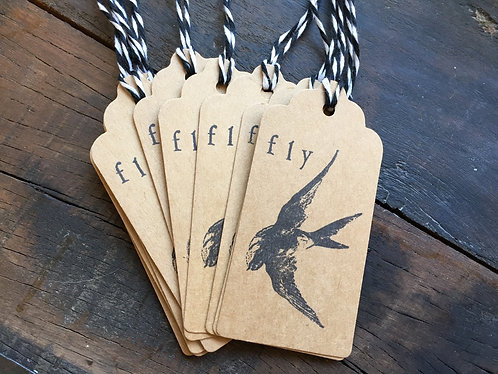 """Swallow """"fly"""" Gift Tags Set/10"""