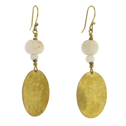 Hammered Brass Disc Earrings White