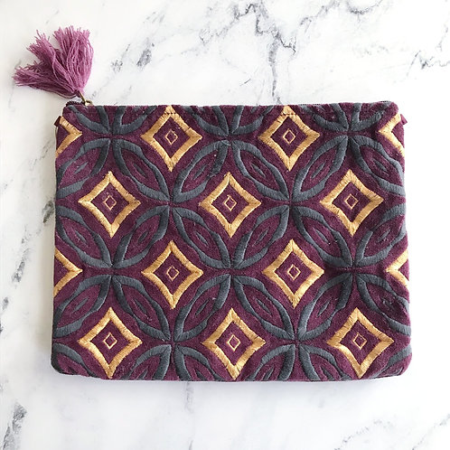Velvet Embroidered Pouch Plum + Grey