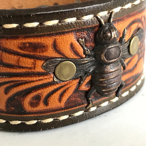 Leather Belt Bracelet with Bee Embossed