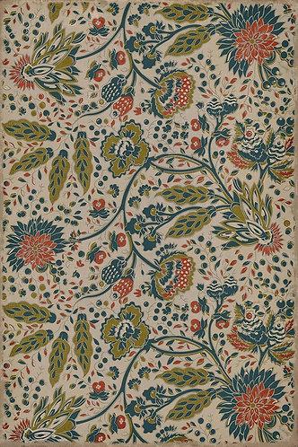 Vintage Vinyl Floorcloth - Williamsburg Garden Gate What the Birds Said - 20x30