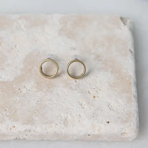 Brass Circle Post Earrings