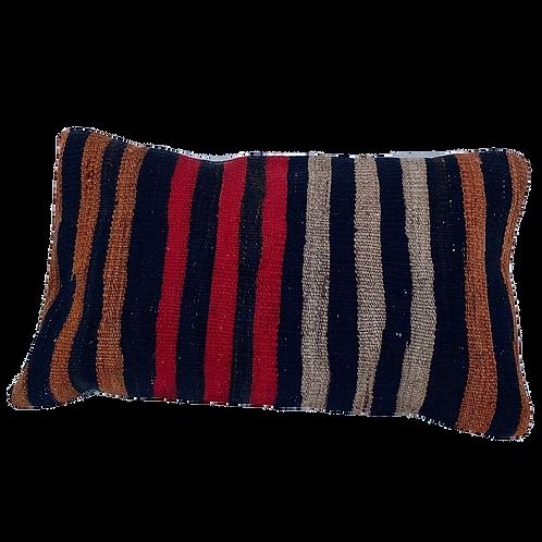 Striped Red Brown Grey Black Kilim Pillow 12 x 20