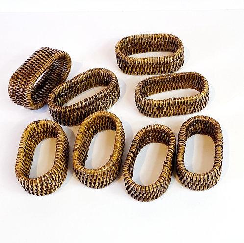 Vintage Rattan Napkin Ring Set/8