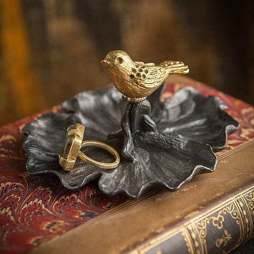 Pewter Jewelry Dish with Bird