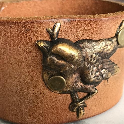 Leather Belt Bracelet with Bird