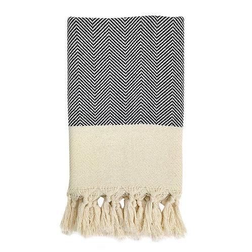 Herringbone Turkish Hand Towel Black
