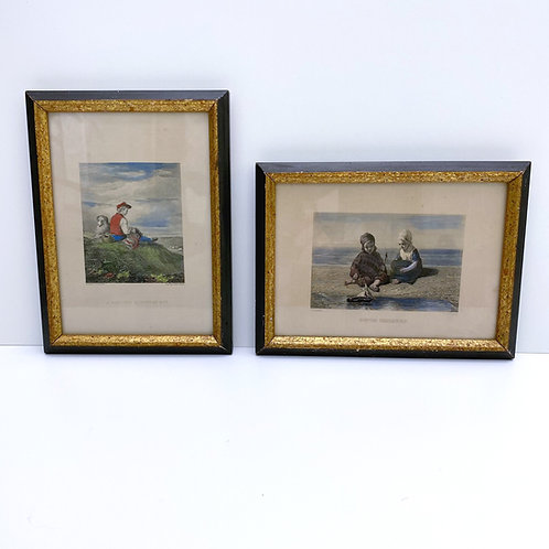 Vintage Hand-colored Etching Pair