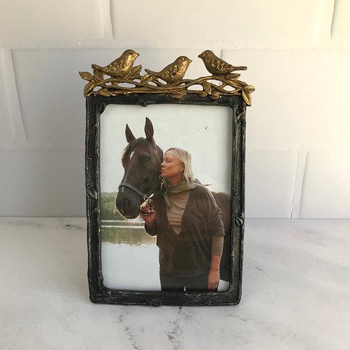 Pewter Frame with Golden Birds