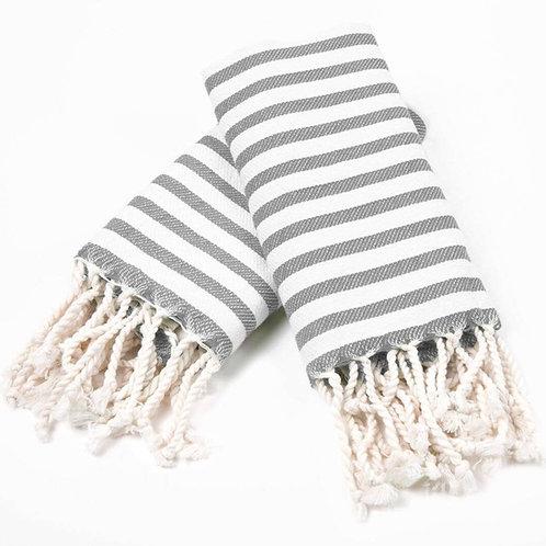 Turkish Hand Towel Grey Stripe Set 2