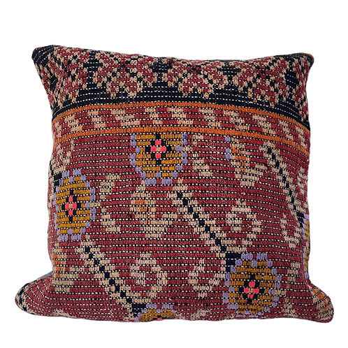 Floral Red and Black Kilim Pillow 20x20