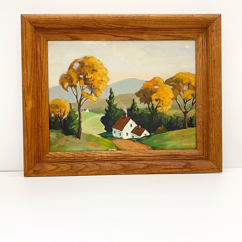 Vintage Oil on Board Landscape Painting with White House by R. St. James