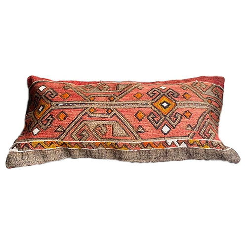 Grey + Coral Kilim Pillow 12x24