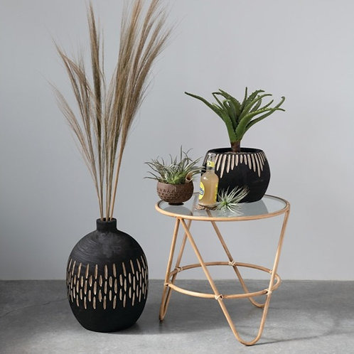 Metal + Glass Faux Bamboo Table