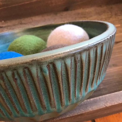 Stoneware Bowl with Dryer Balls