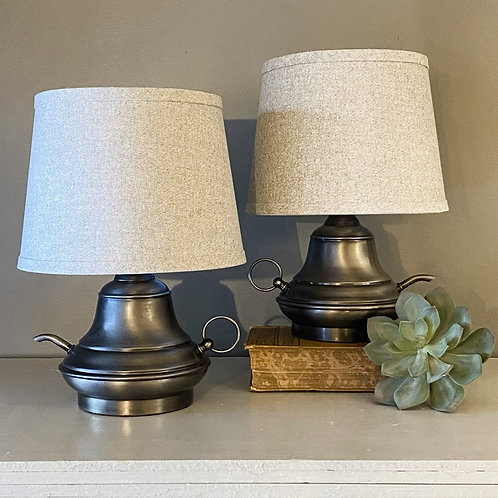 Vintage Metal Teapot Lamp Pair