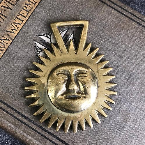Horse Brass Medallion - Sun