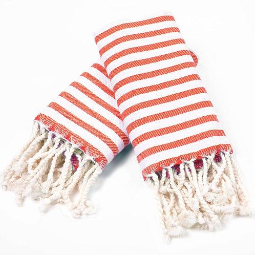 Turkish Hand Towel Red Stripe Set 2