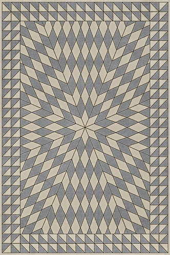 Vintage Vinyl Floorcloth - Folk Art - Sunburst - Buffeting Gusts of Wind 20x30