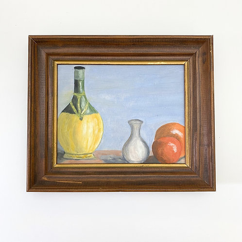 Vintage Oil Painting of Bottle of Wine + Fruit