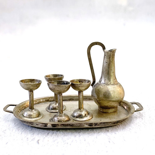 Vintage Silver Dollhouse Wine Set