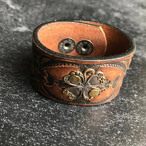 Leather Belt Bracelet with Clover
